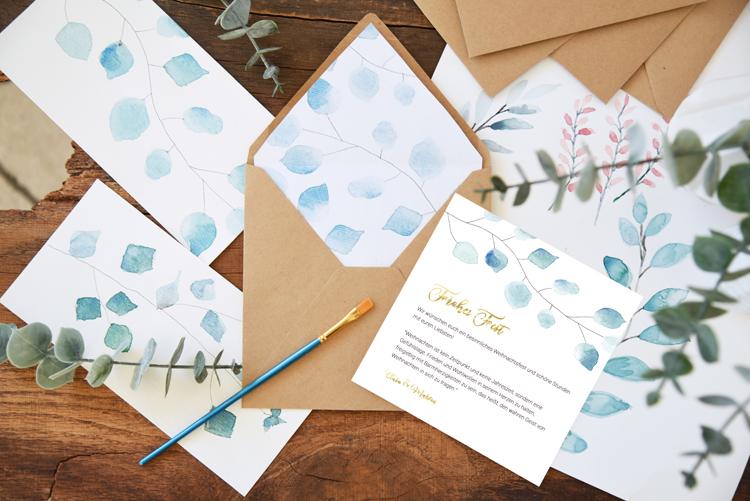 Weihnachtskarten Zum Selber Drucken.Weihnachtskarten Selber Drucken Aquarell Vorlage Bonny Und Kleid