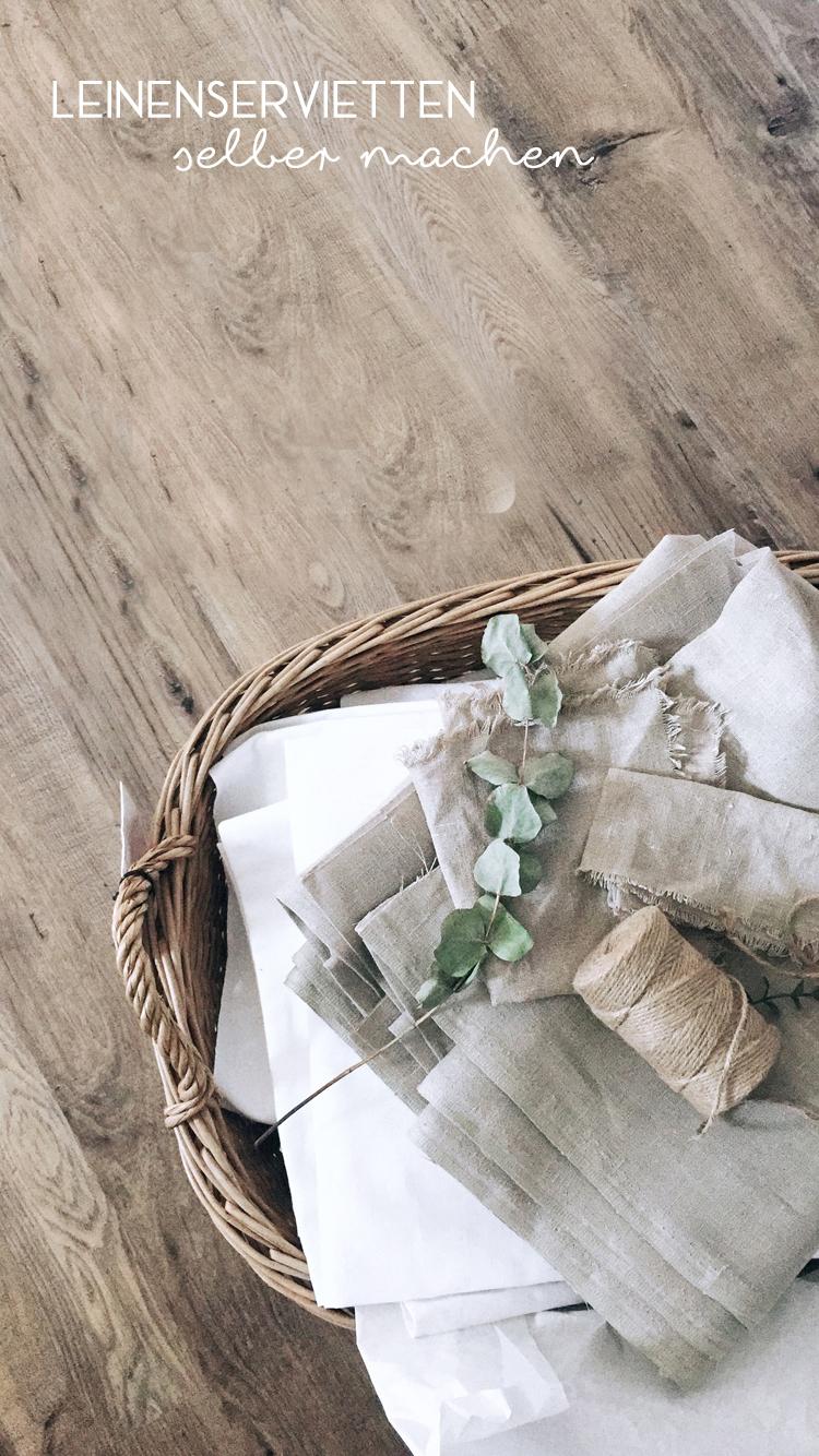 """Leinenservietten selber machen – DIY aus Ikea-Stoff """"AINA"""" ohne Nähen"""